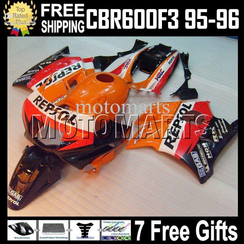 Repsol Tank + 7gifts F3 95-96 Pour HONDA! CBR600F3 Orange rouge 1995 1996 CBR 600 F3 CBR600 F3 CBR 600F3 MT1870 95 96 100% NOUVEAU CARREAUX