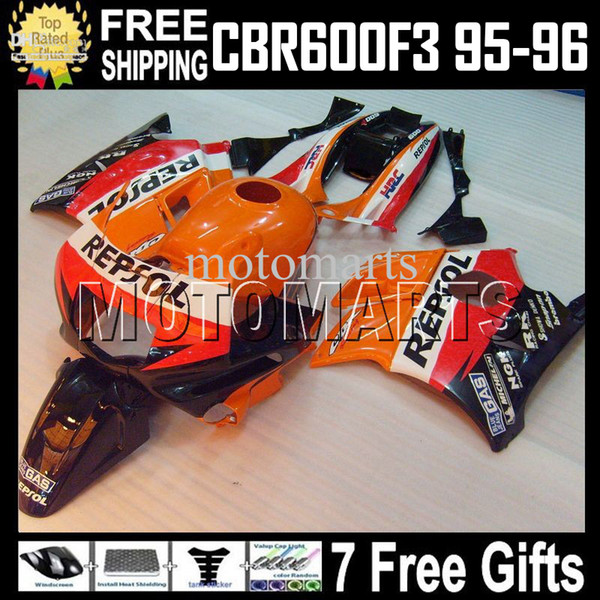 Repsol Tank+7gifts F3 95-96 For HONDA ! CBR600F3 Orange red 1995 1996 CBR 600 F3 CBR600 F3 CBR 600F3 MT1870 95 96 100%NEW HOT Fairings