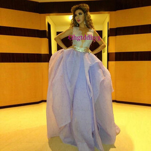Sexy Pageant Dresses Plunging V Neck Sheer Back Puffy Organza Ball Gown Light Purple Evening Dresses on Sale