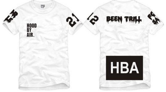 Envío gratis Tamaño chino S - XXXL camiseta de verano Camiseta HBA Hood By Air HBA X Been Trill Kanye West camiseta 100% algodón