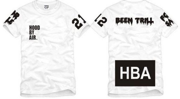 Envío gratis Tamaño chino S - XXXL camiseta de verano Camiseta HBA Hood By Air HBA X Been Trill Kanye West camiseta 100% algodón 6 color