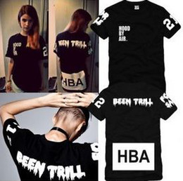 Wholesale Hood Men S - Free shipping Chinese Size S---XXXL summer t shirt Hood By Air HBA X Been Trill Kanye West t shirt Hba tee shirt 4 color 100% cotton