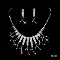 Wholesale Silver Necklace Bridesmaid - 2015 Best Selling Unique Wedding Bridal Bridesmaids Rhinestone Necklace Earrings Jewelry Set Prom In Stock Hot Sale