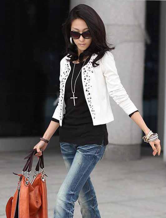 Automne nouveau sexy femmes court petit manteau mince manteau à manches longues rivet dames manteau court manteau occasionnel court manteau de style coréen manteau blanc noir