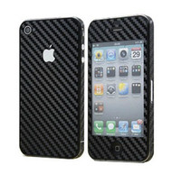 Wholesale Iphone 4s Carbon Fiber Stickers - Free Ship 30 Pieces Mixed Full body Carbon Fiber Design Protective Sticker Phone Skin Sticker for iPhone 4 4S