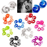 Wholesale 8mm Plugs Tunnels - 96pc Mix Colors Resin Spiral Gauge Ear Plug Stretcher Flesh Ear Piercing 2-8MM [BC81(12)*8]