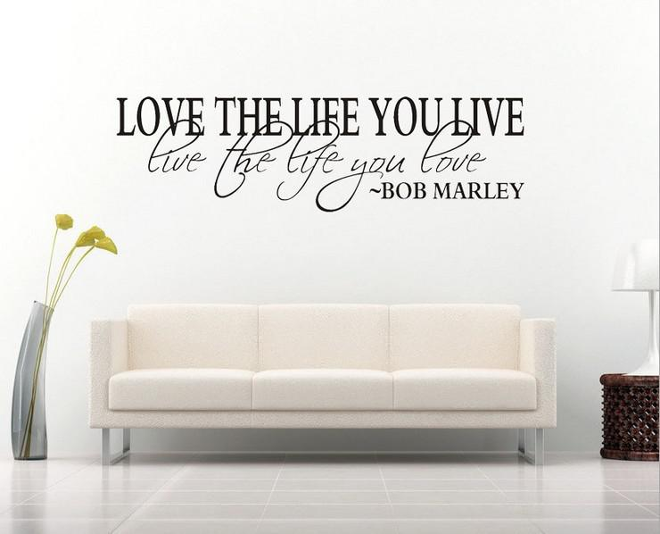 Wall Stickers Decor bob marley quote wall decal decor love life wall sticker vinyl