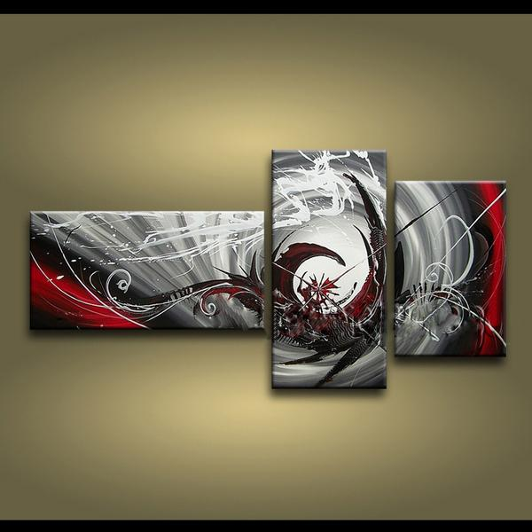 2018 framed 3 panels 100 handmade high end large 3 panel wall art black white and red abstract painting home decor picture xd01242 from sonphone