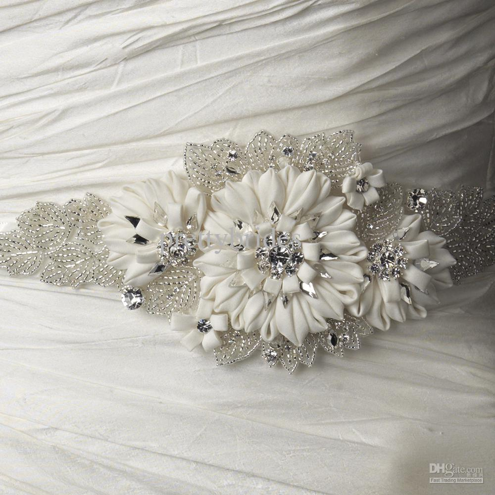 Wedding accessories pearls flowers pearls - Wholesale Custom Made Silk Belt Beading Pearl Handmade Flowers Wedding Dress Belt Bridal Gown Sashes Ribbon Sash Bridal Accessories Pbs47