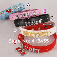Wholesale Dog Charms For Collar - 20pc 18mm wide PU Leather Personalized Pet Collar dog collar fit for 8mm diy slide charms
