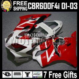 Carrinhos brancos honda f4i on-line-Carenagem Para HONDA CBR600FS FS 7gifts CBR600 F4i MT155 CBR600F4i CBR 600 vermelho branco F4i 600F4i 01 02 03 2001 2002 2003 Hot F4i