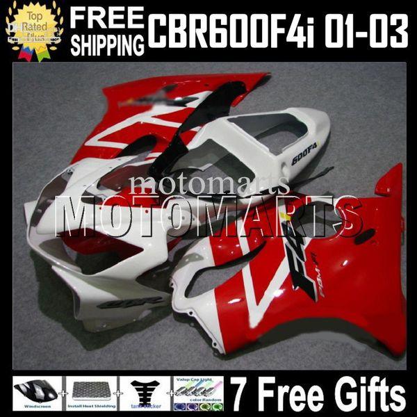 Fairing For HONDA CBR600FS FS 7gifts CBR600 F4i MT155 CBR600F4i CBR 600 red white F4i 600F4i 01 02 03 2001 2002 2003 Hot F4i