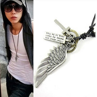 Wholesale Men Gold Eagle Necklace - Men Vintage Angel Feather Eagle Wing Cross Leather Chain Necklace Pendant Gift G540