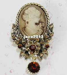 Wholesale Victorian Brooches - Victorian Style Antique Rhinestone Floral Lady Cameo Brooch Pin , 12 pcs lot
