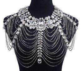 Wholesale Crystal Bridal Epaulets - New Fashion Luxury Bling crystal Rhinestone Wedding Bridal jewelry Dresses Epaulet Jacket Crystal Jewelry Necklace ja005