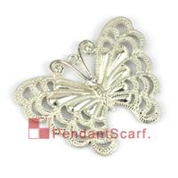 Wholesale butterflies jewellery - 12PCS LOT, Top Fashion DIY Jewellery Scarf Accessories Shine Silver Mental Zinc Alloy Rhinestone Butterfly Pendant, Free Shipping, AC0022