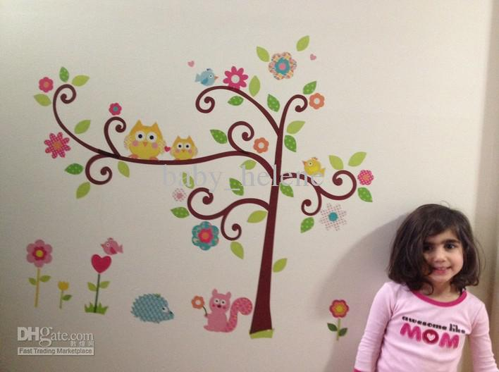 Wholesale Owls Flower Tree Removable Wall Sticker Decal Baby Nursery ...