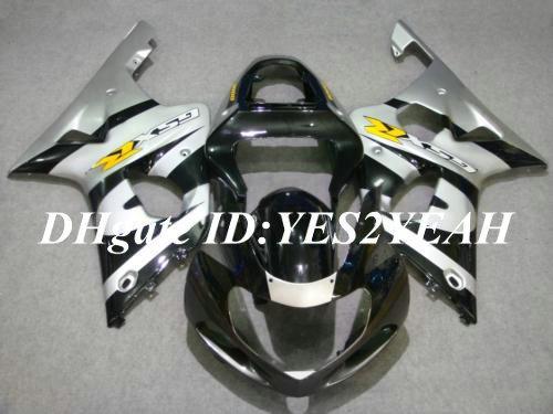 Carrosserie de carénage pour 2000 2001 2002 SUZUKI GSXR1000 GSX R1000 K2 00 01 02 GSXR 1000 R1000 argent noir Kit carénage + cadeaux SM66