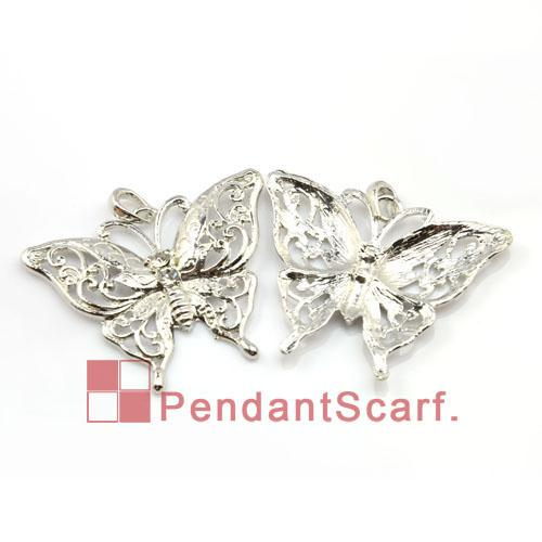 Fashion DIY Jewellery Scarf Findings Accessories Mental Zinc Alloy Rhinestone Butterfly Pendant Charm, AC0023