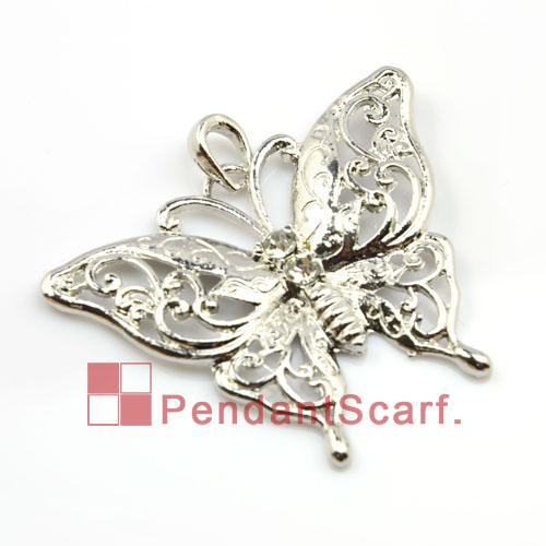 12PCS/LOT, Fashion DIY Jewellery Scarf Findings Accessories Mental Zinc Alloy Rhinestone Butterfly Pendant Charm, Free Shipping, AC0023