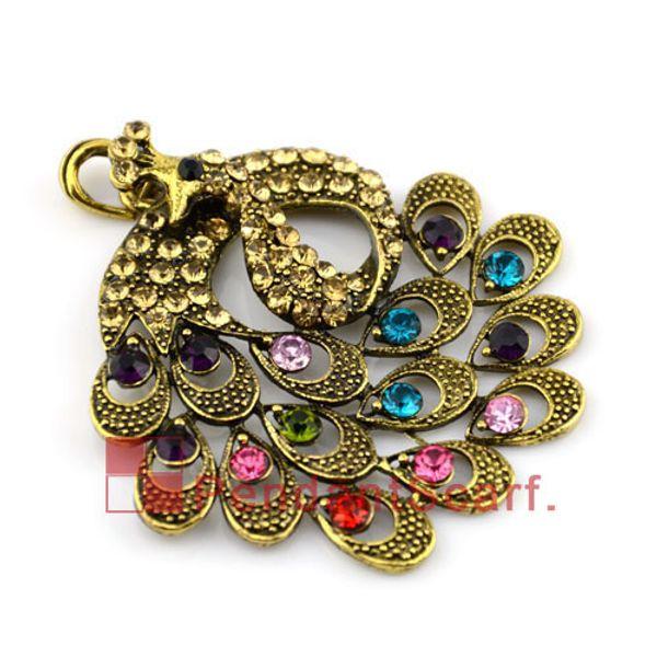 10PCS/LOT, Top Fashion DIY Jewellery Scarf Accessories Antique Bronze Zinc Alloy Charm Rhinestone Peacock Pendant, Free Shipping, AC0024B