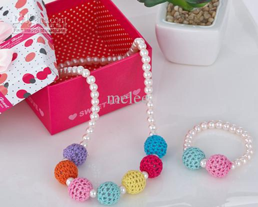 Meisjes trui ketting Armbanden Ornamenten Kleur Bead Candy Colo Rainbow Pearl Kerst Ornament = Armband + 15 Ketting