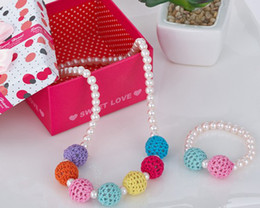 Wholesale Candy Color Bead Necklaces - Girls sweater chain Necklace & Bracelets Ornaments Color bead candy colo rainbow Pearl Christmas Ornament 30pc=15pc Bracelet + 15 Necklace
