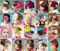 Wholesale Hair Ornaments Flowers - Girls Hair Ornaments Baby Cotton Flower Headbands Children Hair Accessories