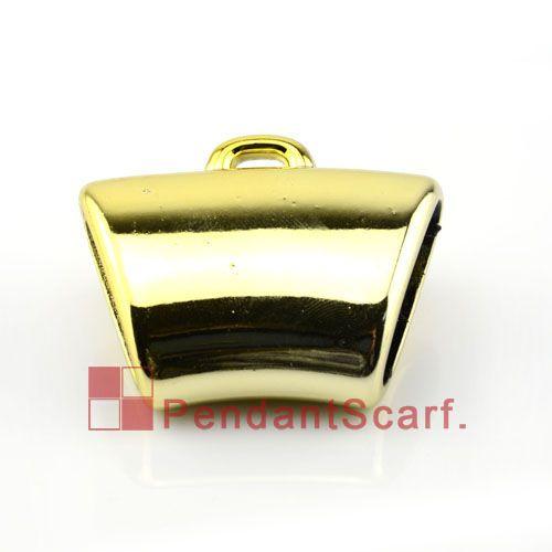 50 stks / partij, Top Mode DIY Sieraden Sjaal Hanger Accessoires Golden Plastic CCB Charm Smooth Slide Bails Tube, Gratis verzending, AC0035B