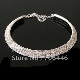 Wholesale Silver Plated Memory Wire - Stretch Memory Wire Silver Plating 3-row rhinestone Choker Bridal Wedding Necklace Jewelry