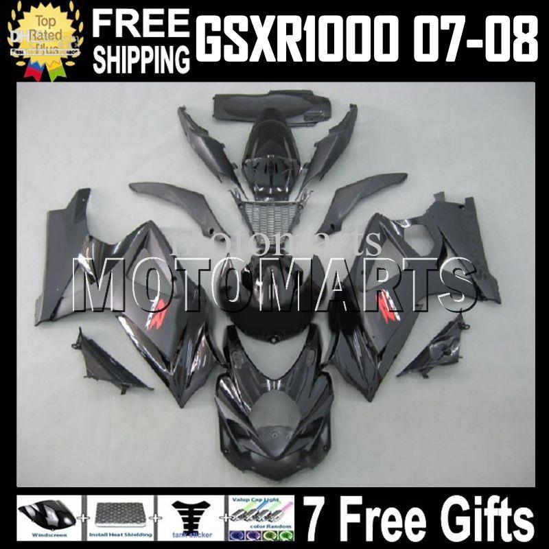ALL Black 7gifts Verkleidung für SUZUKI! GSX-R1000 K7 07 08 Schwarz glänzend GSX R1000 GSXR 1000 100% NEU HEISS K7 07-08 MT829 GSXR1000 2007 2008