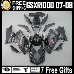 ALL Black 7gifts Fairing For SUZUKI! GSX-R1000 K7 07 08 negro brillante GSX R1000 GSXR 1000 100% NUEVO HOT K7 07-08 MT829 GSXR1000 2007 2008