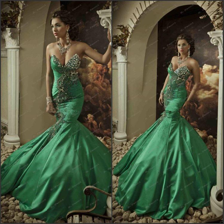 Hot Sellingl!!Amazing 2013 Exquisite Strapless Sweetheart Green Taffeta Mermaid Beads Crystals Backless Evening Dresses