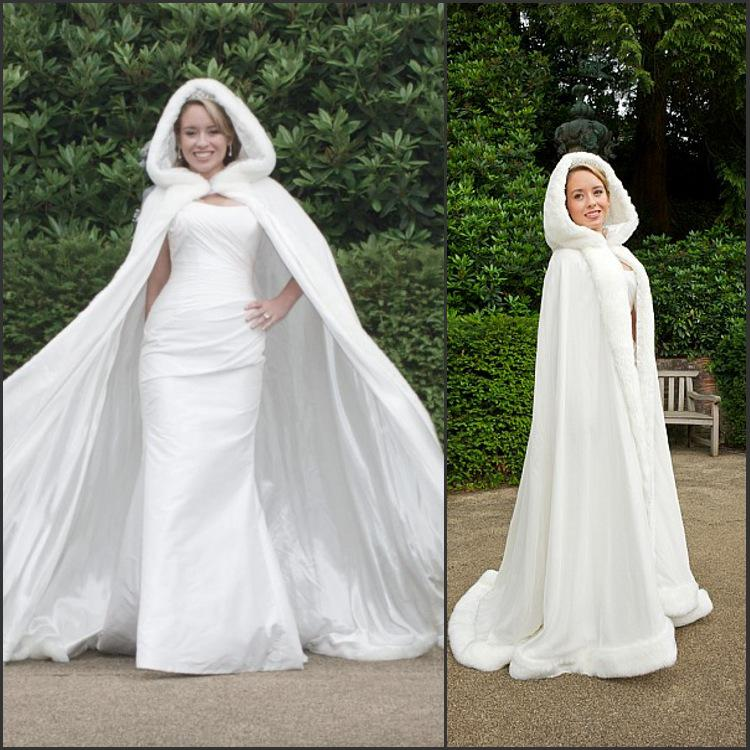 New Arrival Amazing Customer Made White Winter Gorgeous Russia Wedding Dresses For Bridal Cape