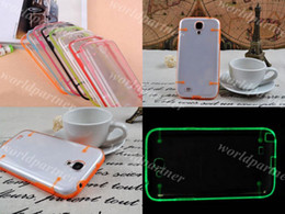 Wholesale Galaxy S4 Glow - Glow in the Dark Noctilucent Fluorescence TPU Bumper Frame Plastic PC Clear Hard Back Cover Case Skin Shell for Samsung Galaxy S4 SIV I9500