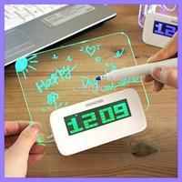 Wholesale Wholesale Display Boards - Luminous Message Board Digital Alarm Clock Port USB Hub LED Display Temperature Alarm Clock + Pen