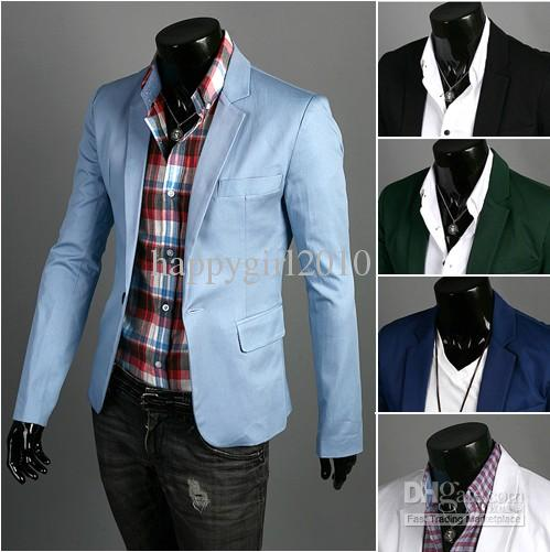 2013 Korean Man Fashion Suit Fit Silm One Button Blazer Coat ...