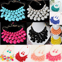Wholesale Necklace Statement Bubble Pendant - Women Vintage Chains Bubble Bib Necklace Teardrop Statement Necklace choker necklace with Earring Set