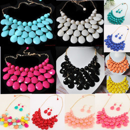 Wholesale Bib Earrings - Women Vintage Chains Bubble Bib Necklace Teardrop Statement Necklace choker necklace with Earring Set