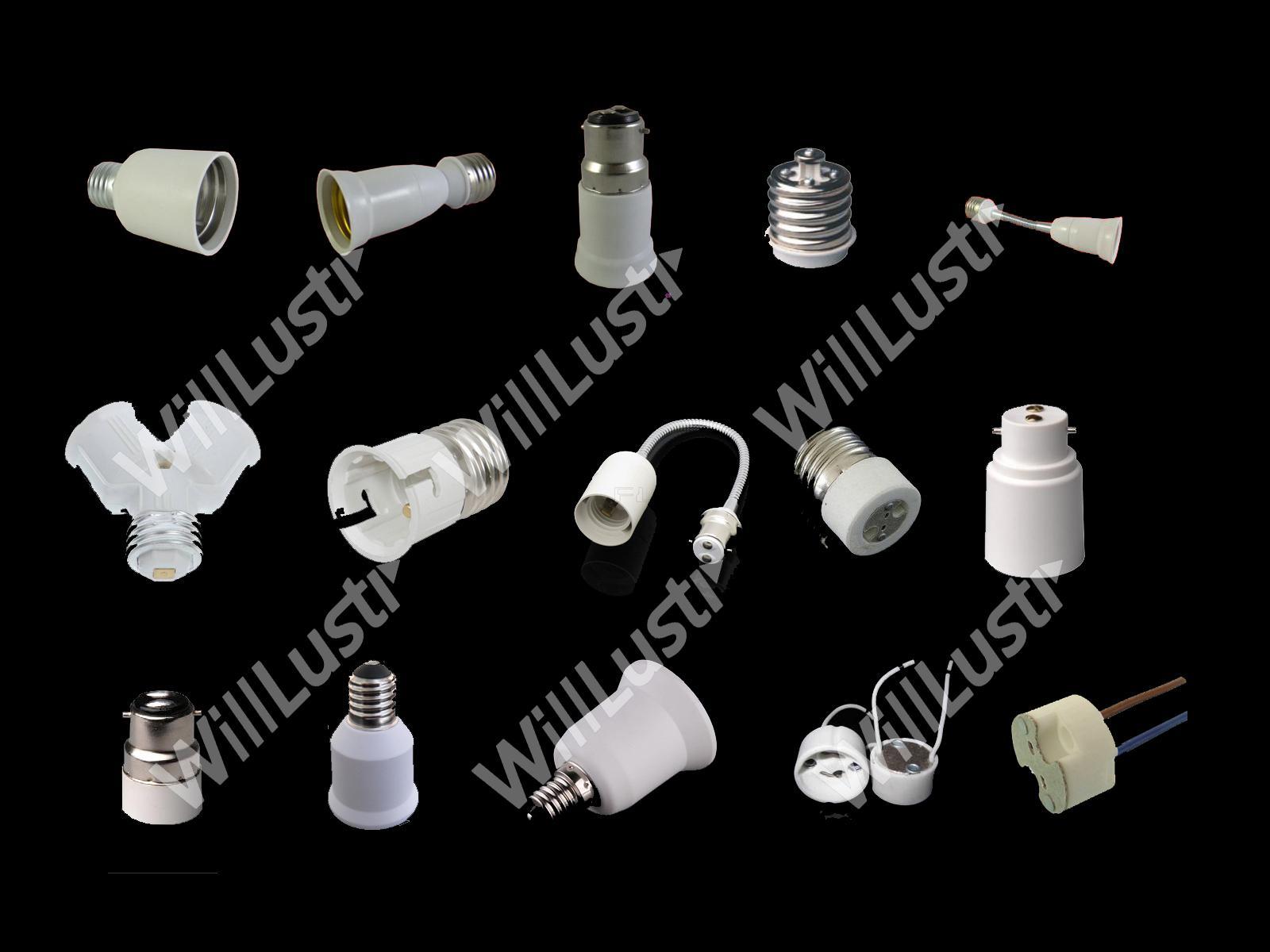 / E27 إلى E27 تمديد محول محول الصمام الهالوجين CFL ضوء لمبة مصباح E27 محول التمديد