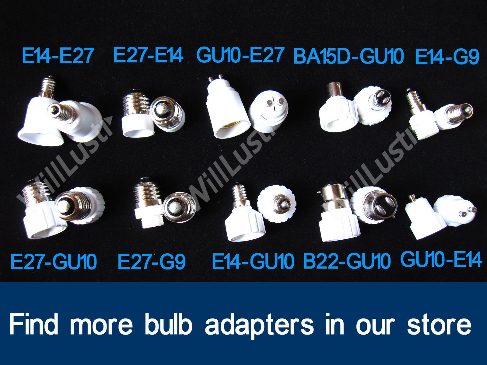 100 stks / partij FEDEX Gratis verzending B22 naar E27 Adapter LED-halogeen CFL-lichtlamp E27 naar B22 Adapter BC naar ES-adapter