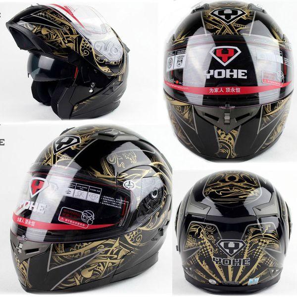 Drapé de visage noir or totem YOHE 953 doublelens double moto moto coque ABS, doublure peut défaire et laver