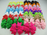 Wholesale Hair Clip Ribbon Design - Free shipping! 60pcs lot NEW design 40colors baby grosgrain ribbon pin wheel bows WITHOUT clip,Girls' hair accessories boutique bows,HJ004