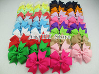 Wholesale Ribbon Bow Hair Pin - 50pcs lot NEW style hair accessorise 40colors baby ribbon bows WITH clip,Baby Girl hair bows Clips,Baby Boutique bows hair pins,HJ004+4.5CM