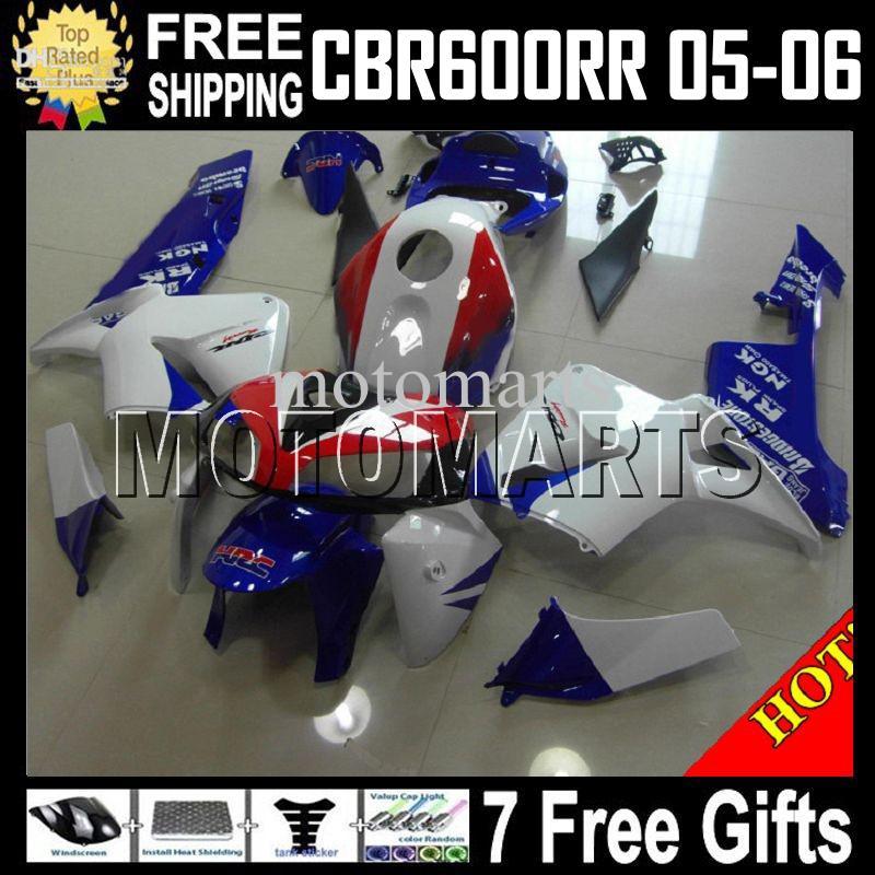 7Gifts 100% NIEUW voor Honda Blue Red Whtie CBR600RR 05 06 CBR600 RR F5 CBR 600 600RR 2005 2006 MT362 BLAUW CBR600F5 05 06 Valvormen Body Kit