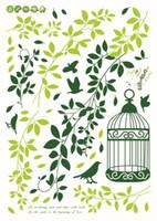 Wholesale Green Leaf Sticker - 1PCS Green Leaf Birdcage DIY WALL DECALS Stickers Deco Home Decor 70x50cm #23174