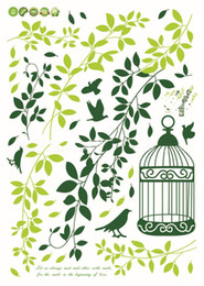 Wholesale Green Wall Deco - 1PCS Green Leaf Birdcage DIY WALL DECALS Stickers Deco Home Decor 70x50cm #23174