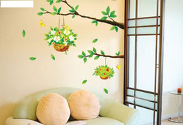 Wholesale Tree Flowers Wall Stickers - 1PCS Green Tree Flower Basket Wallpaper DIY WALL DECALS Stickers Home Deco #23191