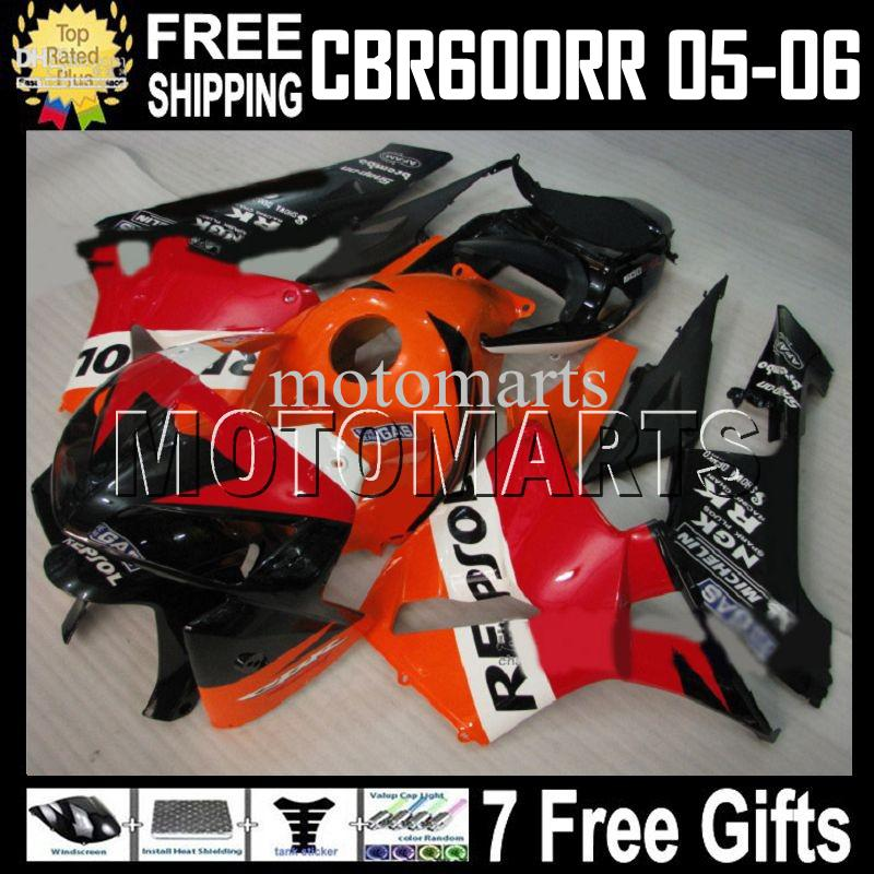 100% NIEUWE F5 voor HONDA CBR600 RR CBR600F5 REPSOL 05 06 CBR 600 600RR 2005 2006 MT449 Oranje Rood Zwart CBR600RR 05 06 Aangepaste ABS-kuip