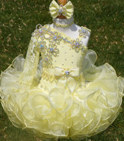 Wholesale One Sleeve Pageant - Crystal Pageant Dresses Yellow Cupcake One Long Sleeve Organza Beaded and Pearl with Bow Comb Toddler Party Dress In Dubai dhyz 03